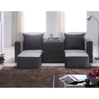 Furniture of America Duplex 3-seat Black/ Charcoal Versatile Foam Sofa