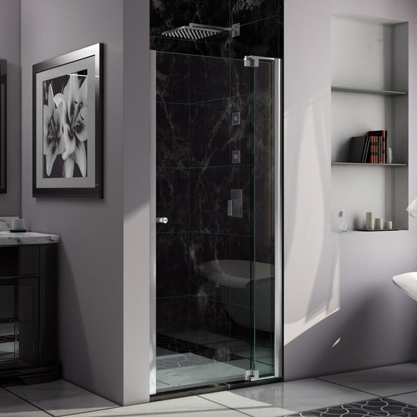DreamLine Allure 36 to 37-inch wide x 73-inch high Frameless Pivot Clear Glass Shower Door in Chrome Finish