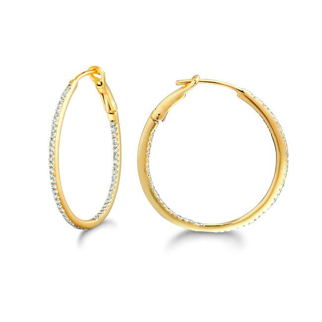 14k Gold and Silver 1/4ct TDW Diamond Round Hoop Earrings (H-I, I2-I3)