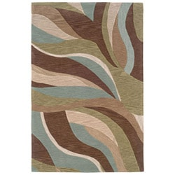 Hand-tufted Blue/ Brown Abstract Rug (5' x 7'9)