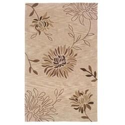 Hand-tufted Beige Floral Rug (9' x 12'9)