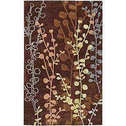 Hand-tufted Contemporary Lavish Brown Abstract Rug (3'6 x 5'6)