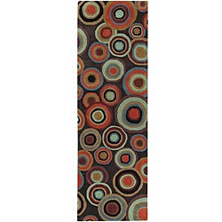 """Hand-Tufted Contemporary Multicolored Circles Geometric Dazed New Zealand Wool Runner Rug (2'6"""" x 8'"""