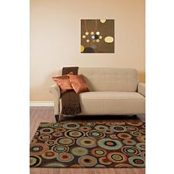 "Hand-Tufted Contemporary Multicolored Circles Geometric Dazed Plush New Zealand Wool Rug (3'3"" x 5'3"