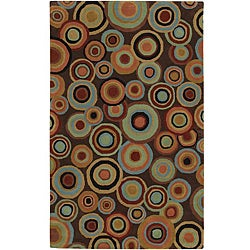 Hand-Tufted Contemporary Multicolored Circles Geometric Dazed Plush New Zealand Wool Rug (3'3