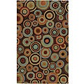 "Hand-Tufted Contemporary Multicolored Circles Geometric Dazed Plush New Zealand Wool Rug (3'3"" x 5'3"")"