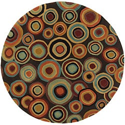 Hand-tufted Contemporary Multi Colored Circles Geometric Dazed New Zealand Wool Rug (3' Round)