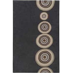 Hand-tufted Contemporary Circles Dazed Charcoal Grey Wool Geometric Rug (3'3 x 5'3)