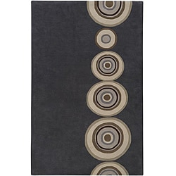 Hand-tufted Contemporary Circles Dazed Charcoal Grey Wool Geometric Rug (8' x 11')