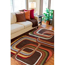 Hand-tufted Brown Contemporary Geometric Square Mayflower Wool Rug (10' x 14')