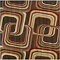 Hand-tufted Brown Contemporary Geometric Square Mayflower Wool Rug (4' Square)