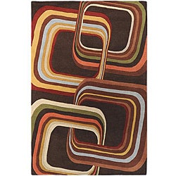 Hand-tufted Brown Contemporary Geometric Square Mayflower Wool Rug (6' x 9')