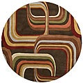 Hand-tufted Brown Contemporary Geometric Square Mayflower Wool Rug (6' Round)