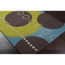 Hand-tufted Contemporary Multi Colored Geometric Circles Mayflower Wool Abstract Rug (3' x 12')