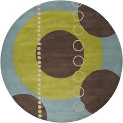 Hand-tufted Contemporary Multi Colored Geometric Circles Mayflower Wool Abstract Rug (4' Round)