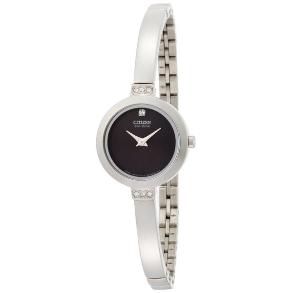 Citizen Eco-Drive Women's 'Silhouette' Bangle Black Dial Watch