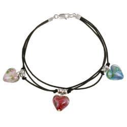 Glitzy Rocks Sterling Silver Multi-colored Murano Glass Heart Bracelet