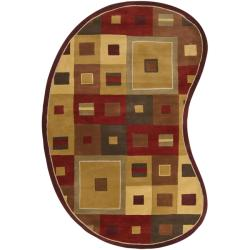 Hand-tufted Contemporary Red/Brown Geometric Square Mayflower Burgundy Wool Abstract Rug (6' x 9' Ki