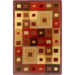 Hand-tufted Contemporary Red/Brown Geometric Square Mayflower Burgundy Wool Abstract Rug (7'6 x 9'6)