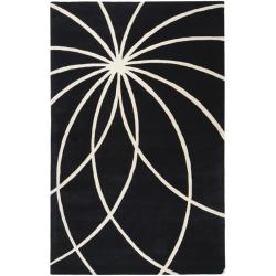 Hand-tufted Contemporary Black/White Mayflower Wool Abstract Rug (10' x 14')
