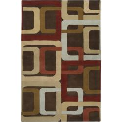 Hand-tufted Brown Contemporary Multi Colored Square Mayflower Wool Geometric Rug (4' x 6')