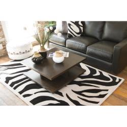 Hand-tufted Black/Beige Zebra Animal Print Glamorous Wool Rug (5' x 8')