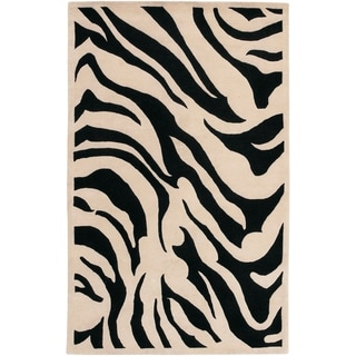 Hand-tufted Black/Beige Zebra Animal Print Glamorous Wool Area Rug - 5' x 8'/Surplus