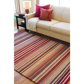 Hand-crafted Casual Multi Striped Wool Rug