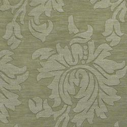 Hand-crafted Solid Green Damask Embossed Wool Rug (8' X 11')