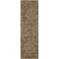 Hand-crafted Solid Brown Damask Embossed Wool Rug (2'6 x 8')