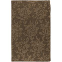 Hand-crafted Solid Brown Damask Embossed Wool Rug (3'3 X 5'3)