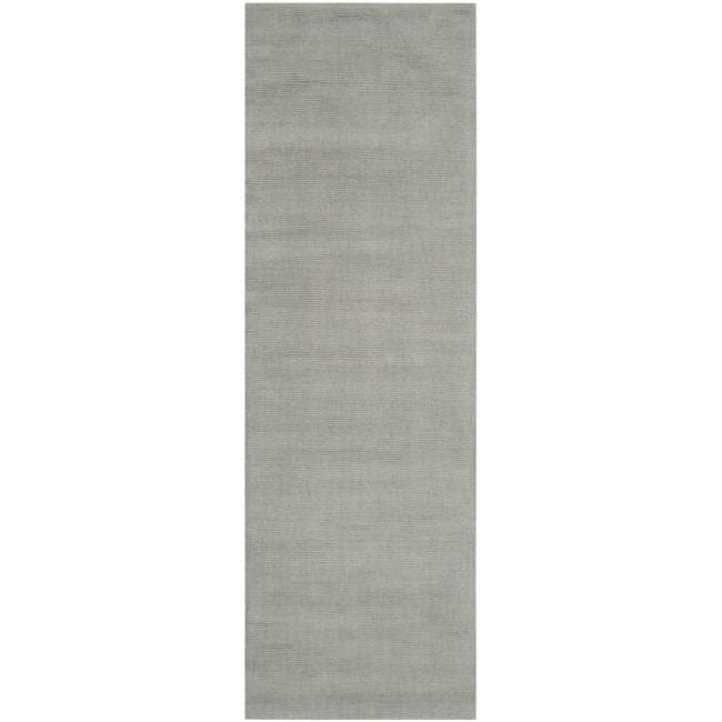 Hand-crafted Solid Grey/Blue Ridges Wool Rug (2'6 x 8')