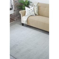 Hand-crafted Solid Grey/Blue Ridges Wool Rug (5' x 8')