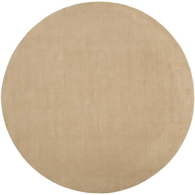 Hand-crafted Solid Pale Gold Casual Ridges Wool Rug (8' Round)