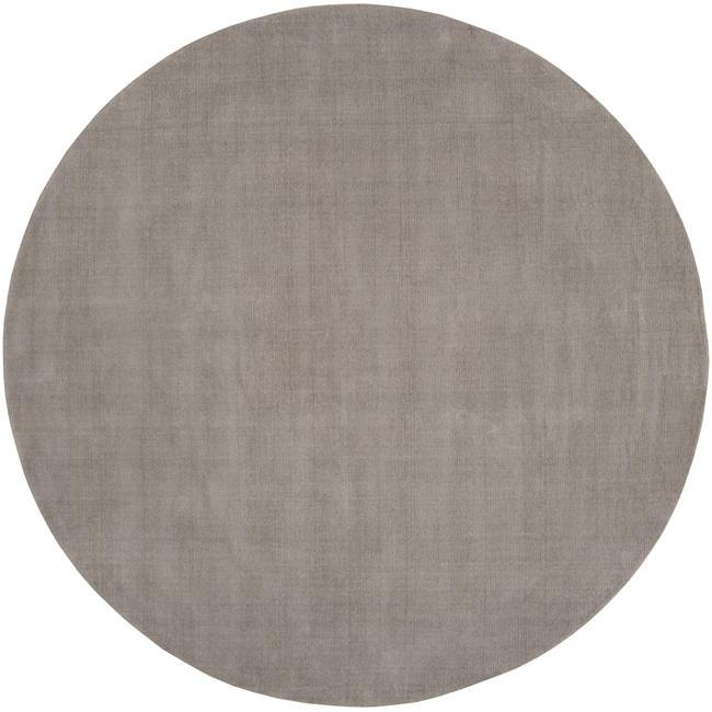 Hand-crafted Solid Grey Casual Ridges Wool Rug (6' Round)