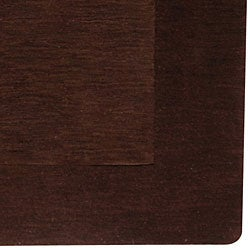 Hand-crafted Solid Brown Tone-On-Tone Bordered Wool Rug (6' x 9')