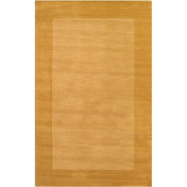 Hand-crafted Solid Yellow Tone-On-Tone Bordered Wool Rug (7'6 x 9'6)