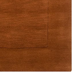 Hand-crafted Solid Brown Casual Wool Rug (5' x 8')