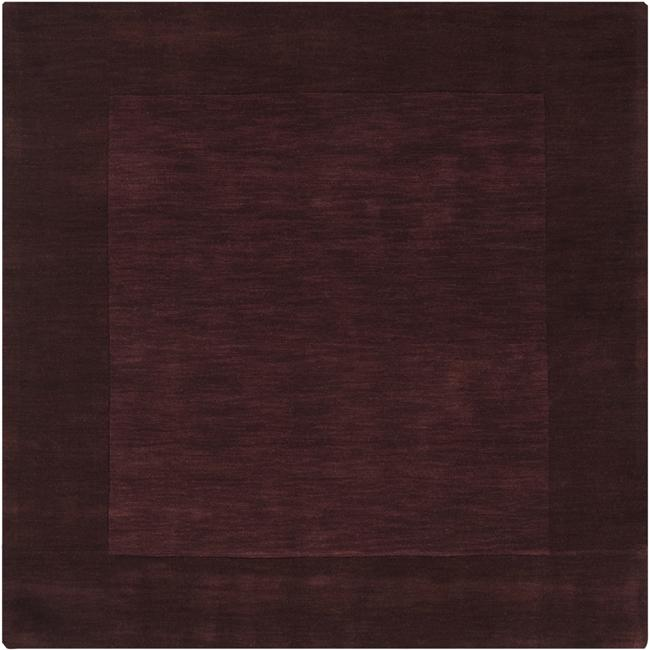 Hand-crafted Dark Purple Solid Bordered Wool Rug (8' Square)