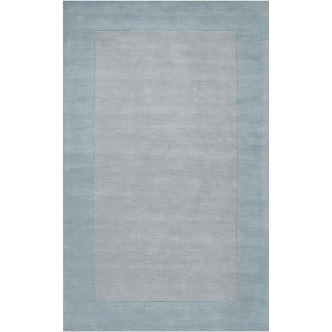 Hand-crafted Light Blue Tone-On-Tone Bordered Wool Rug (5' X 8')