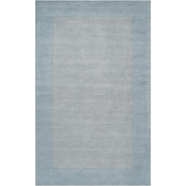 Hand-crafted Light Blue Tone-On-Tone Bordered Wool Rug (8' X 11')