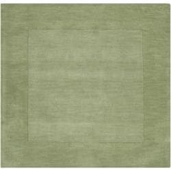 Hand-crafted Moss Green Tone-On-Tone Bordered Wool Rug (9'9 x 9'9)
