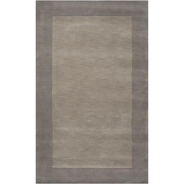 Hand-crafted Grey Tone-On-Tone Bordered Wool Rug (5' x 8')