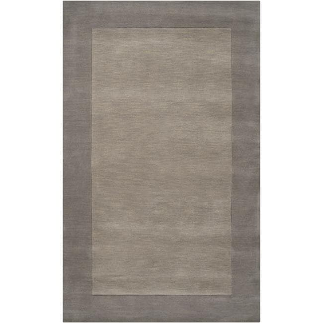 Hand-crafted Grey Tone-On-Tone Bordered Wool Rug (6' x 9')