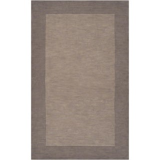 Hand-crafted Grey Tone-On-Tone Bordered Wool Rug (7'6 x 9'6)