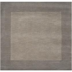 Hand-crafted Grey Tone-On-Tone Bordered Wool Rug (8' x 8')