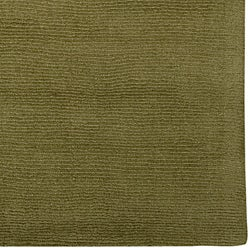 Hand-crafted Solid Green Casual Ridges Wool Rug (9' x 13')