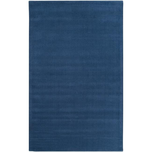Hand-crafted Solid Blue Causal Ridges Wool Rug (5' x 8')