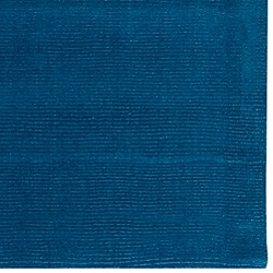 Hand-crafted Solid Blue Causal Ridges Wool Rug (8' x 11')
