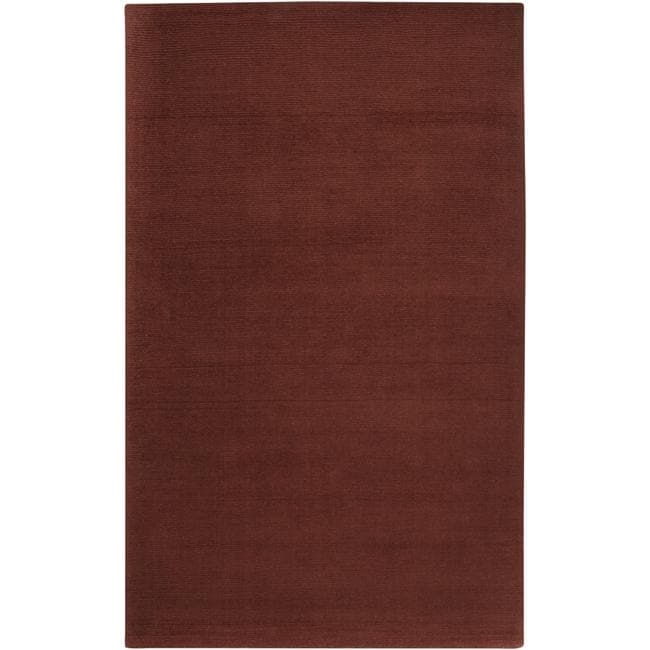 Hand-crafted Rust Red Solid Casual Ridges Wool Rug (5' x 8')